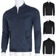 New Mens Slim Fit Stand Collar Blazer Suit Zip up Jackets Long Sleeve Coat Tops