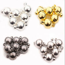 5/10Set 6/8/10mm Ball Round Strong Magnetic Clasps Silver Gold White K Gun Black