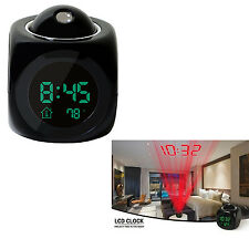 Multifunction Vibe LCD Talking Projection Alarm Clock Voice Time Display New