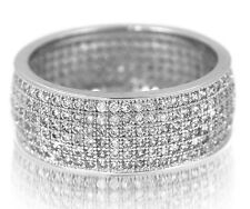 Wide Eternity cz Band Micro Pave cubic zirconia Ring in Sterling Silver