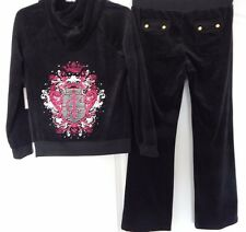 NWT JUICY COUTURE VELOUR HOODIE & BOOTCUT PANTS TRACKSUIT BLACK SIZE LARGE