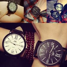 Unisex Stainless Steel Dail Leather Band Analog Quartz Sport Wrist Watch Casual