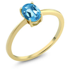 0.85 Ct Oval Swiss Blue Topaz 10K Yellow Gold Solitaire Engagement Ring