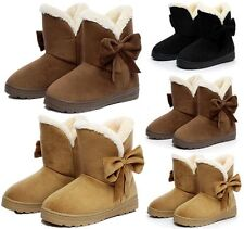 Fashion Womens Faux Suede Fur Winter Warm Snow Boots Bow Flat Ankle Boot Shoes