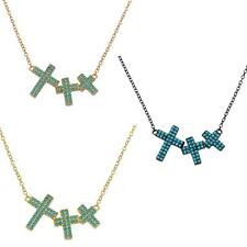 Sterling Silver Necklace w/ Turquoise Stones 3 Crosses Pendant