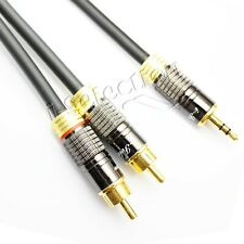 Premium Stereo Audio 3.5mm Aux Jack to 2 RCA M/M Y Cable Gold Plated 0.5m ~ 15m