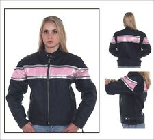 Womens Motorcycle Racer Jacket With Pink & Silver Stripes New Size XS-4XL