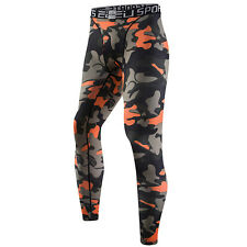 Mens Sports Compression Camouflage Thermal Base Layer Tights Fitness Long Pants