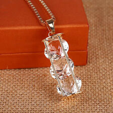 Three zircons Crystal  Fashion  Hollow  Necklace  Long chain Pendant  cylinder