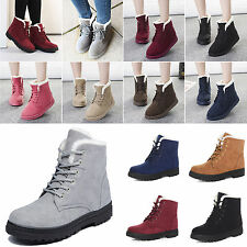 Hot Women Winter Warm Faux Suede Fur Flat Lace-up Round Toe Ankle Boot Snow Shoe