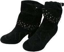 BRAND NEW LADIES BLACK FOLD-OVER FAUX SUEDE STUD HEELS BOOTS WOMEN'S UK SIZE 3-8