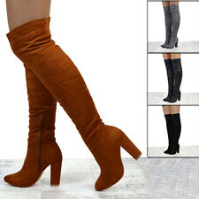 NEW WOMENS OVER THE KNEE HIGH SMART FIT LADIES BLOCK HEEL THIGH HIGH BOOTS SIZE