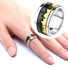 Gold & Black Serrated Ring 316L Stainless Steel Wedding Band Mens Jewelry Sz7-13