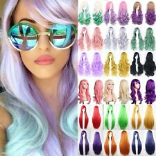 Anime Cosplay Long Hair Wig Girl Cotton Candy Pastel Color Wigs Straight Curly