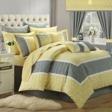 NEW Queen King Bed Bag 24 pc Yellow Gray Comforter Sheets Pillows Window Set NWT