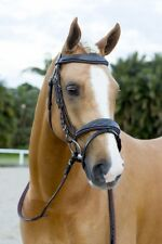 NEW Brown Leather Fancy Stitch Snaffle HORSE BRIDLE + Reins *Pony Cob Full WB*
