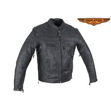 New Mens Motorcycle Naked Cowhide Leather Jacket With Zipper On Front Size S-5XL