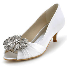 EP2058 Peep Toe Mid Heel Leaf Rhinestone Satin Wedding Bridal Shoes Pumps US4-11