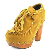 NIB FLOGG Womens Demi Regular Suede Ankle Boots Heels in Mustard / Yellow X1025