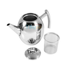 1000/1500ML Stainless Steel Teapot Tea Pot Coffee + Filter Infuser Strainer New
