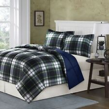 NEW Twin XL Full Queen Cal King Bed Blue Green Tartan Plaid 3 pc Comforter Set