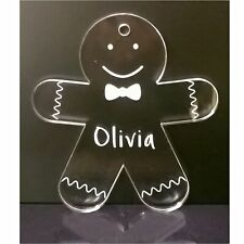 Christmas tree decoration- gingerbread man, Personalised, name, coloured acrylic