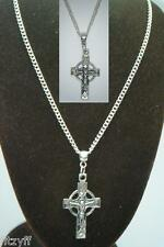 18or 24 Inch Necklace & Celtic Cross Crucifix Gaelic Communion Christening