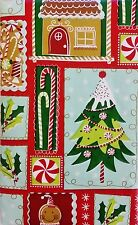 Christmas Candy/Gingerbread/Holly Vinyl Flannel Back Tablecloth Various Sizes