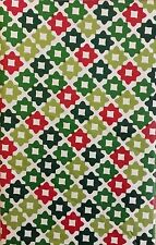 Christmas Red and Green Quatrefoil Vinyl Flannel Back Tablecloth Various Sizes