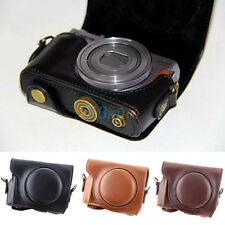 1x PU Leather Camera Hard Case Bag Grip Strap For Canon Silver/Black G9X G9 X