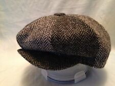 HARRIS TWEED 2 TONE GREY 8 PIECE HAT GATSBY CAP  NEWSBOY BAKER BOY PEAKY BLINDER