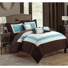 Queen King Bed Bag Brown Blue White Hotel Color Block 10 pc Comforter Sheet Set