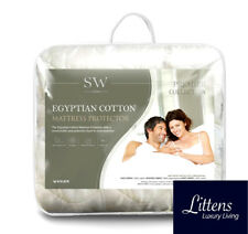 Luxury Quilted Egyptian Cotton Mattress Protector Cover 35cm Deep All Bed Sizes