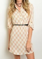 Partial Button Down Roll Tab Plaid Design Print Belted Tunic Stylish Shirt Dress
