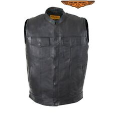 Mens Motorcycle Premium Cowhide Leather Club Vest With Gun Pockets On Both Sides