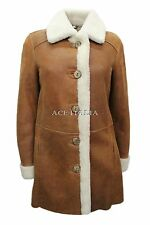 Luxury Ladies Tobacco Knee Length Real Shearling Sheepskin Leather Jacket Coat