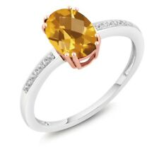 1.25 Ct Oval Checkerboard Yellow Citrine and Diamond 10K Two-Tone Gold Ring