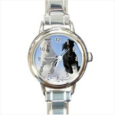 Black White Horses Stallions Italian Charm Watch (Battery Included)