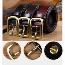 Men's Genuine Leather Waistband Casual Dress Leather Pin Metal Buckle Belt Black