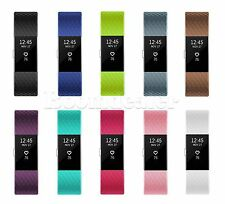 Sports Silicon Rubber Wrist Watch Band Strap w/ Steel Buckle For Fitbit Charge 2