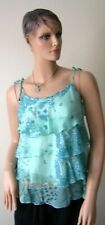 Womens 100% Silk Georgette Tiered Blouse Turquoise