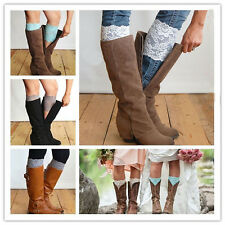 Fashion Stretch Lace Flower Leg Warmers Trim Toppers Boot Socks Cuffs 13 colors