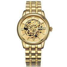 ROSDN Men Skeleton Gold Stainless Steel Sapphire Automatic Mechanical Watch Y0H2