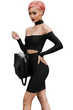 Sexy Women Choker Cut out Off Shoulder Long Sleeves Bandage Club Party Dress