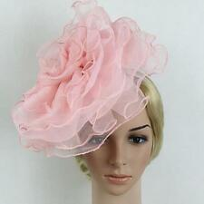 Womens Fascinator Cocktail Hat Headband Church Wedding Large Tulle Flower Hat