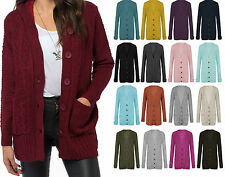 New Winter Womens Ladies Aran KNITTED Chunky Button GRANDED CABLE CARDIGAN 8to26