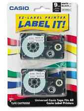 2 X 2 Pack Casio EZ Label Printer Label It Tape 9mm XR-WE2S Black Ink White Tape