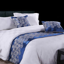 yazi Bed Runner Scarf Cotton Xmas Bedding End Slipcover Pillowcase Blue Clouds