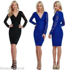 Goddiva Fitted Scalloped Long Lace Sleeve Ribbed Cocktail Party Evening Dress