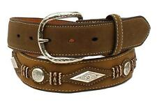 Nocona Western Mens Belt Leather Scalloped Overlay Diamond Concho Brown N2474144